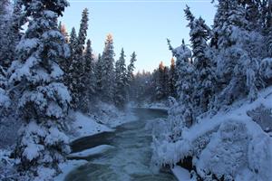 Wekusko Falls during wintertime